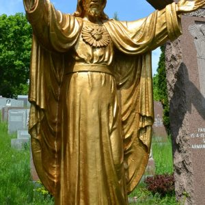 Bronze Sacred Heart statue